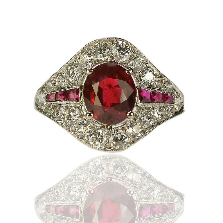 Art Deco Burma Ruby Platinum Ring For Sale 1