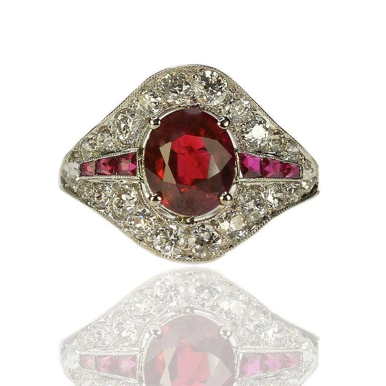 Art Deco Burma Ruby Platinum Ring For Sale 1