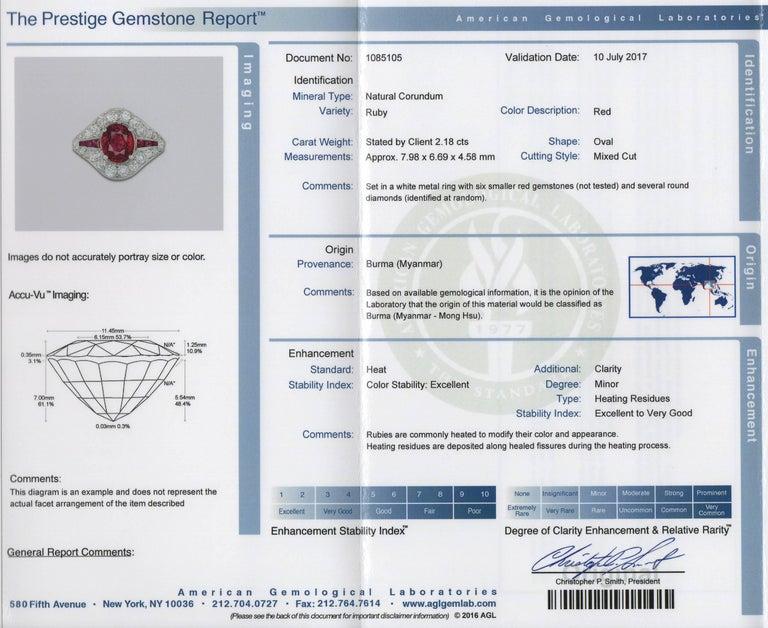 Art Deco Burma Ruby Platinum Ring For Sale 2