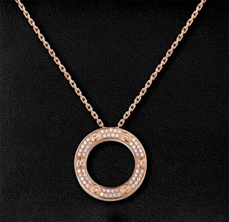 18 Karat Rose Gold Diamond Cartier Love Necklace at 1stdibs