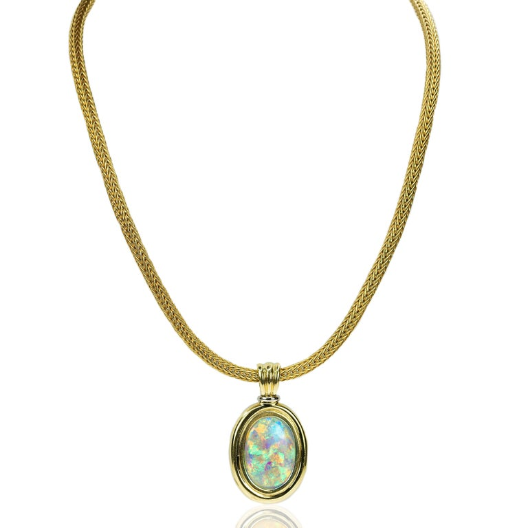 Magnificent Australian Opal Necklace In Excellent Condition For Sale In Sarasota, FL
