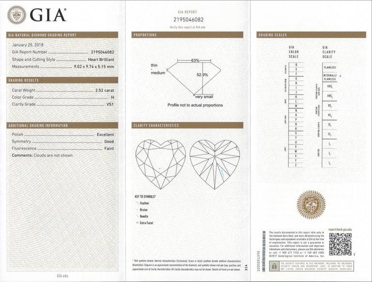 GIA 2.52 Carat Heart Shape Diamond in Platinum Ring For Sale 1