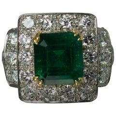 Keith Davis Emerald Diamond Platinum Ring