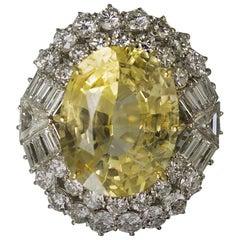 No Heat Yellow Sapphire Diamond Platinum Ring