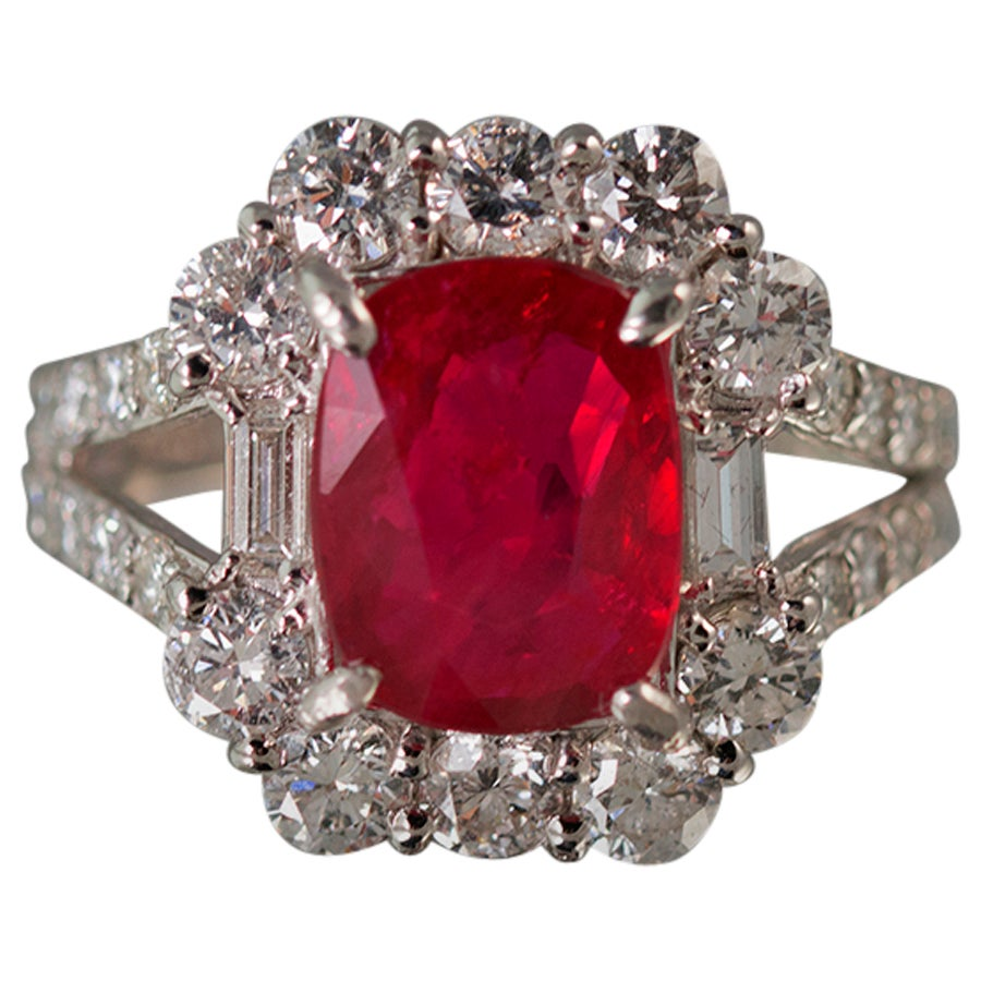 Stunning No Heat GIA Certified Ruby Diamond Platinum Ring