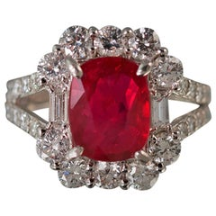 Stunning No Heat GIA Certified Ruby Diamond Platinum Ring