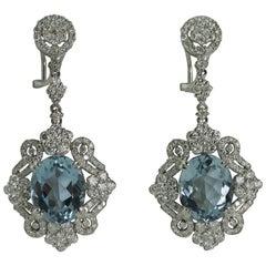 Aquamarine Diamond Gold Earrings