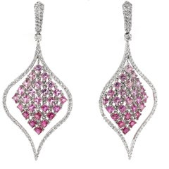 Pink Sapphire and Diamond Dangle Earrings