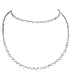 18kt White Gold side by side diamond chain. Over 6 carats of diamonds! 31 inches