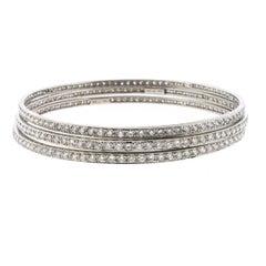Set of 18 Karat White Gold Bangles with 9.50 Carat in Diamonds