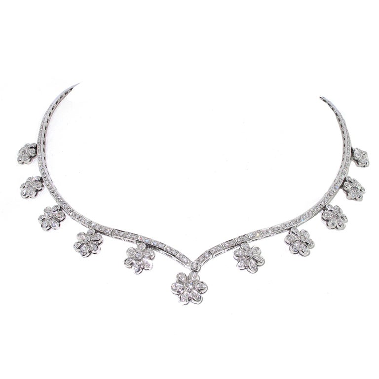Flower Motif Diamond Necklace in 18 Karat Gold Approximate 4 Carat Diamonds