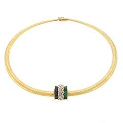 Charles Krypell Diamond, Emerald and Sapphire Slide Pendant Necklace 18 Karat YG