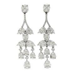 Diamond Chandelier Cluster Earrings, 18 Karat White Gold, 5.53 Carat Diamonds