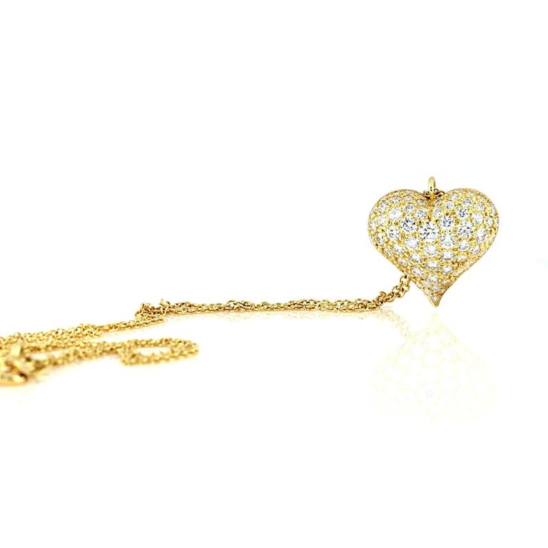 Tiffany & Co. 1.80 Carat Diamonds Gold Heart Necklace 2