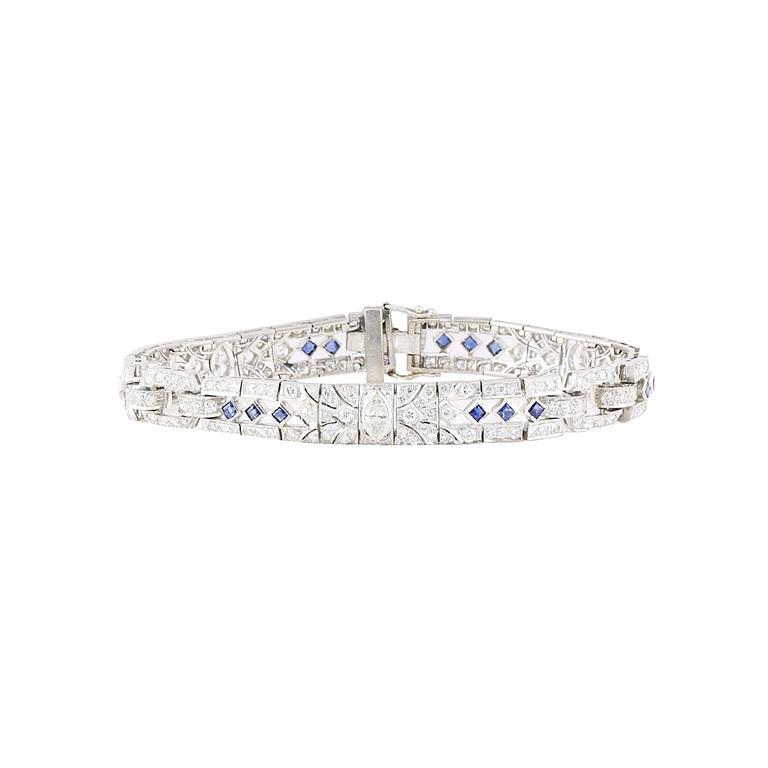 Art Deco  Sapphire  Diamond Bracelet For Sale