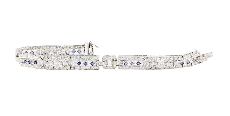 Deco Styled Sapphire and Diamond Bracelet line bracelet. In Excellent Condition For Sale In Beverly Hills, CA