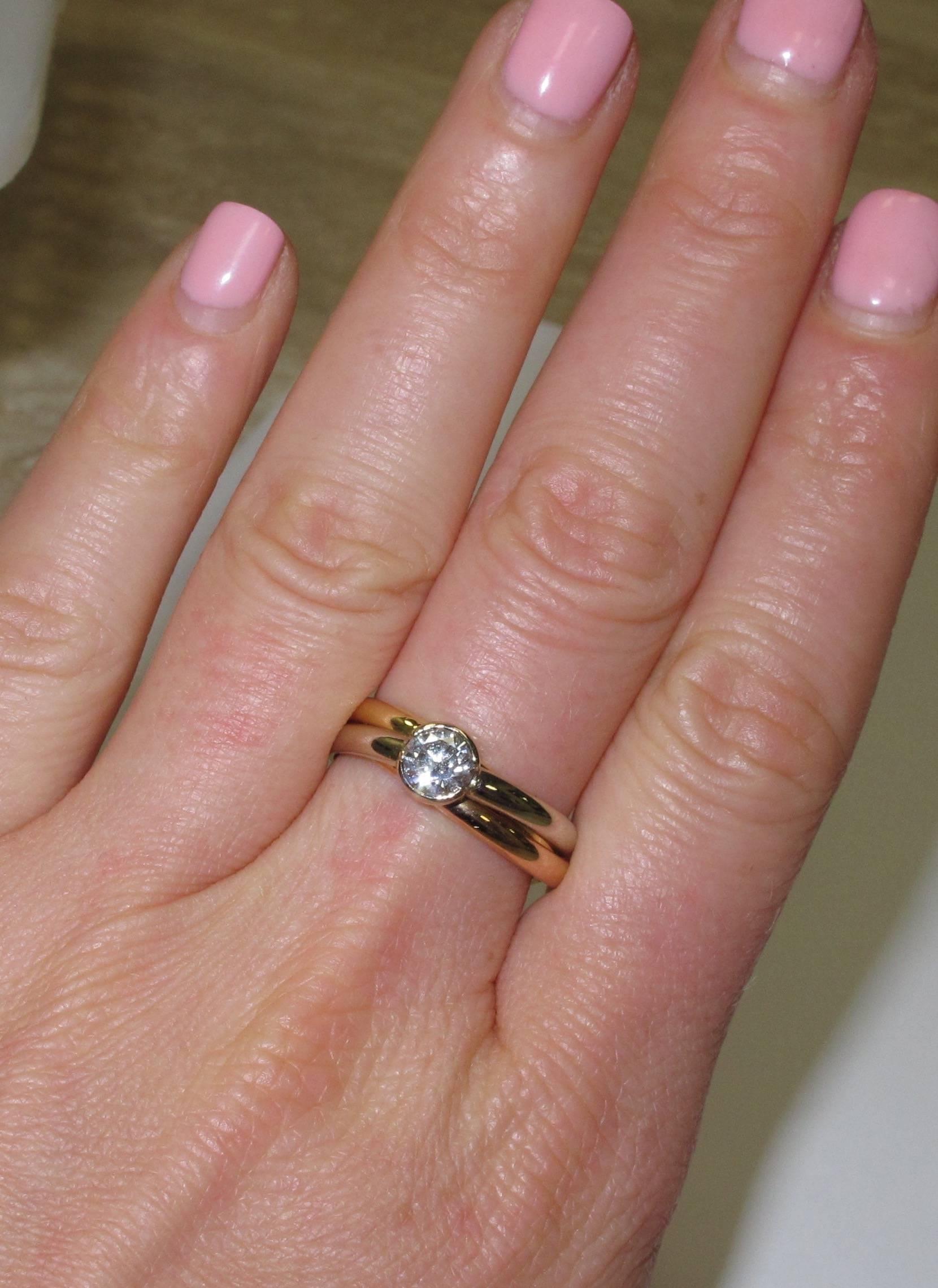 Cartier Tricolor .50 Carat Solitaire Diamond Tri-Color Engagement ...