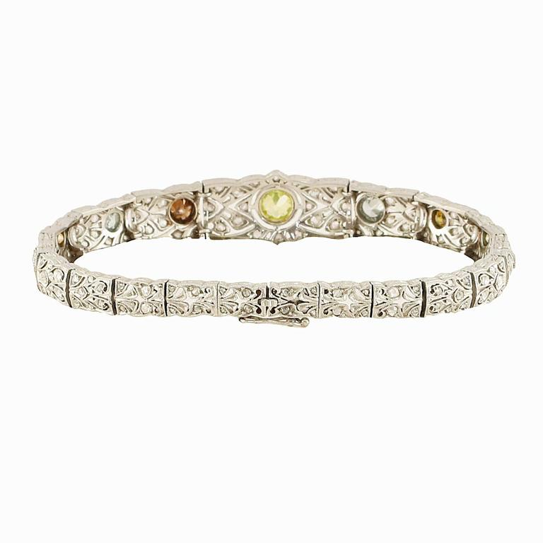 Unique Art Deco Natural Multi Color Diamond Bracelet In Excellent Condition For Sale In Beverly Hills, CA