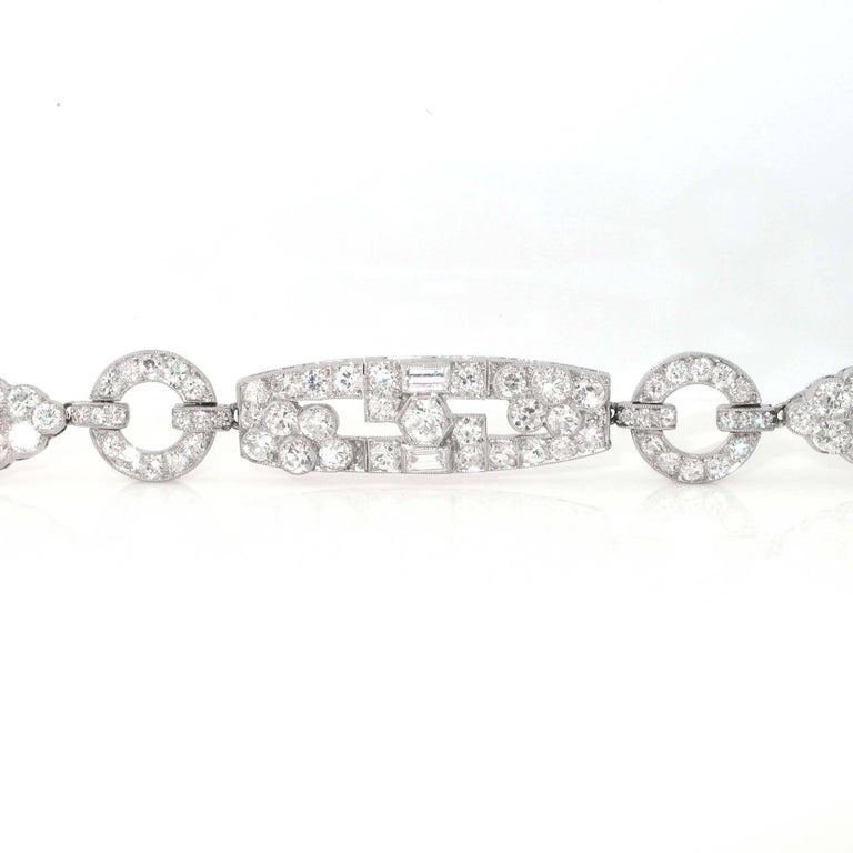 One of the most impeccable art deco diamond bracelets. This bracelet is in extremely fine condition and the diamonds are of great quality. Colorless to near colorless and VS clartity. This bracelet very easy to wear and will look great at any