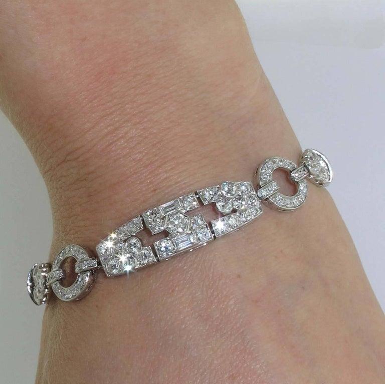 1920s Art Deco Diamond and Platinum Bracelet For Sale 1