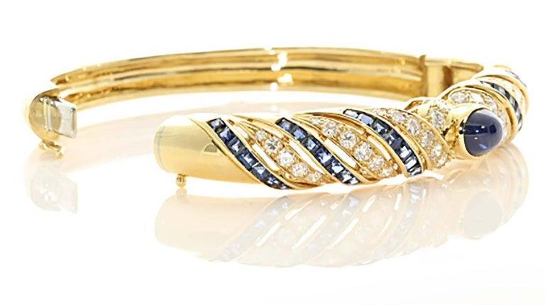 Modern Diamond Sapphire Gold Lilly Bracelet For Sale