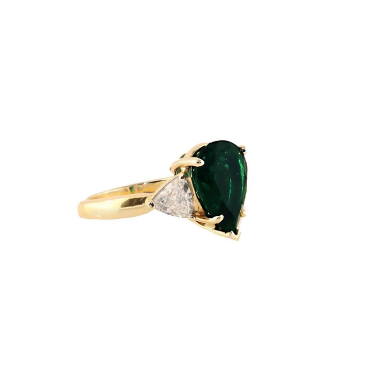 4 29 Carat Pear Shape Emerald Diamond Ring For Sale at 1stdibs