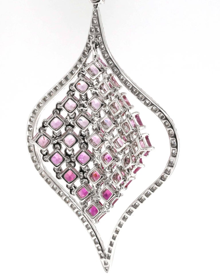 Modern Pink Sapphire and Diamond Dangle Earrings For Sale