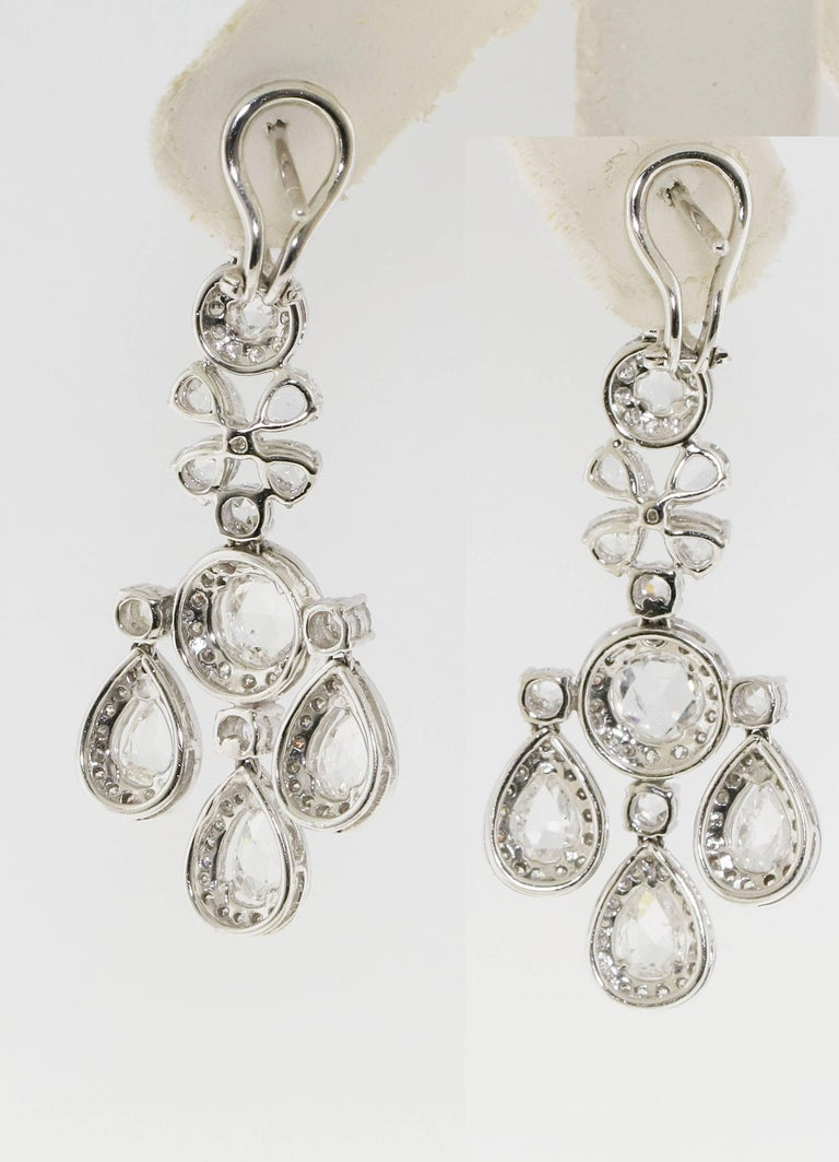 Gorgeous Dangle Chandelier Diamond Earrings Known Weight Of 6 91 Carats White Clean Rose Cut