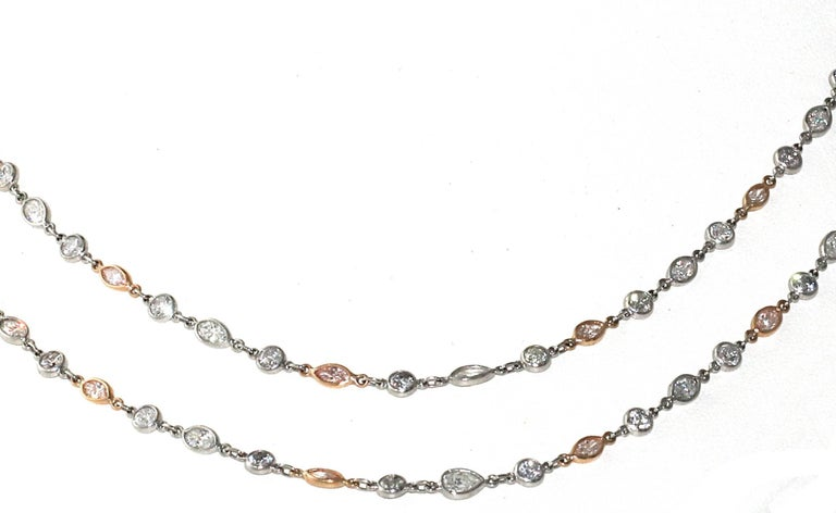 Modern Platinum and 18kt Rose Gold Pink and White Diamond by the Yard Necklace, 16.25ct For Sale