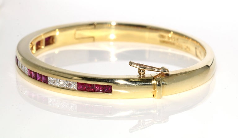 Retro Tiffany & Co. Ruby and Diamond Bangle For Sale