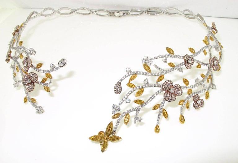 Floral natural multi color diamond necklace for sale at for Natural multi colored roses