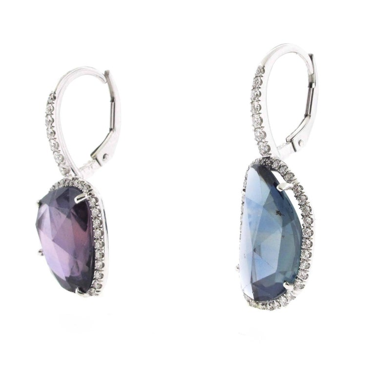 Modern Pair of Amoeba Sapphire Earrings Set in Platinum with Diamonds For Sale