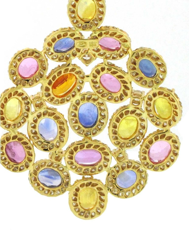Oval Cut 18 Karat Yellow Gold Multicolored Sapphires and Diamond Chandelier Earrings For Sale