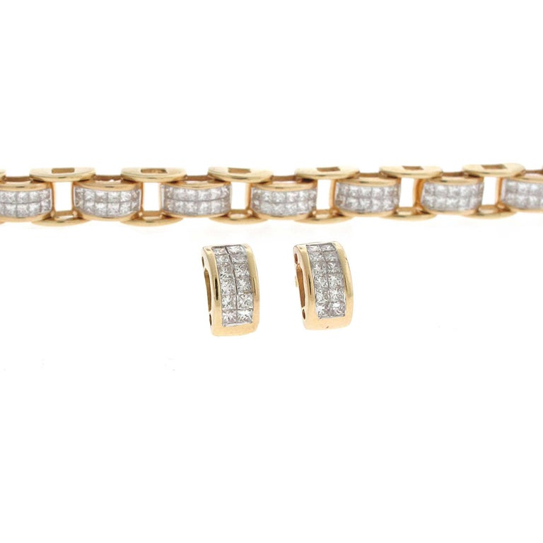 A great matching set for a gift or for yourself. Very well make 14k yellow gold princess cut diamond bracelet and earrings set. The bracelet measures a standard sized wrist and locks into itself which creates a smoother look. The set has about 6