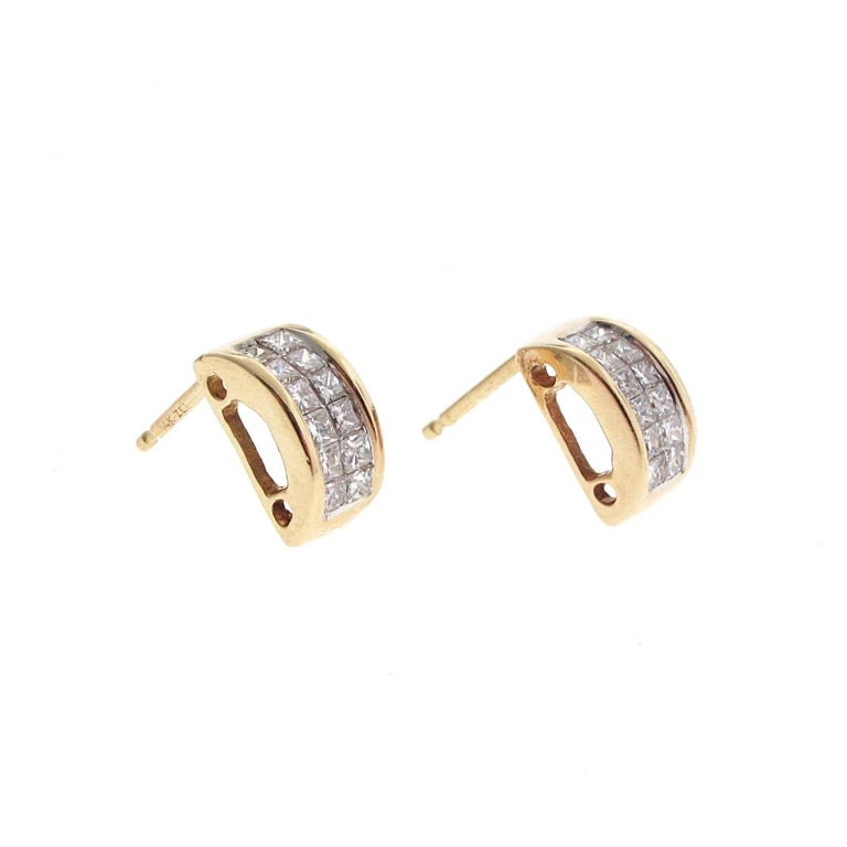Yellow Gold Matching Princess Cut Diamond Bracelet and Earrings Set In Excellent Condition For Sale In Beverly Hills, CA