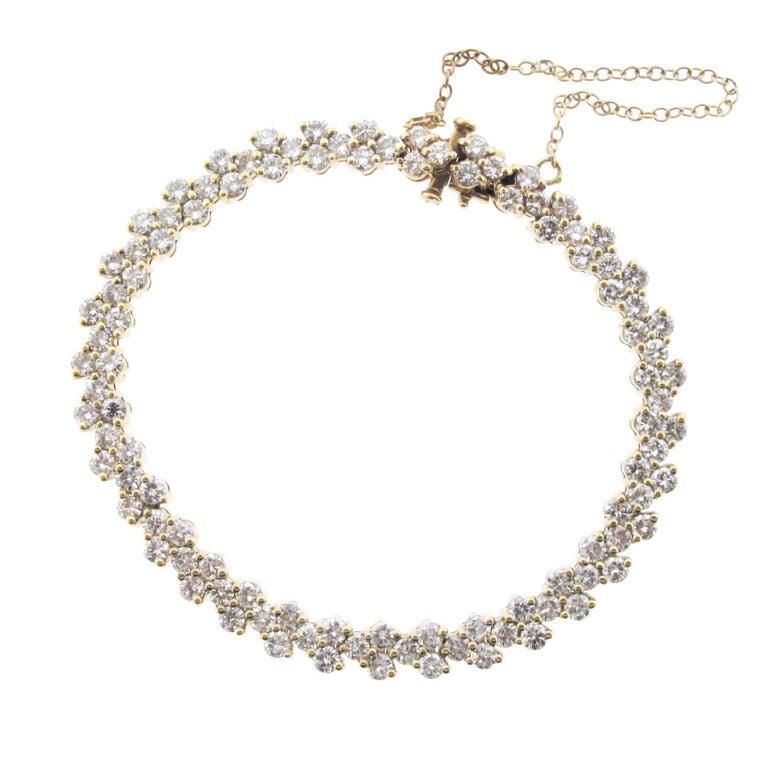 Approximate 6 Carat Yellow Gold Round Diamond Tennis Bracelet
