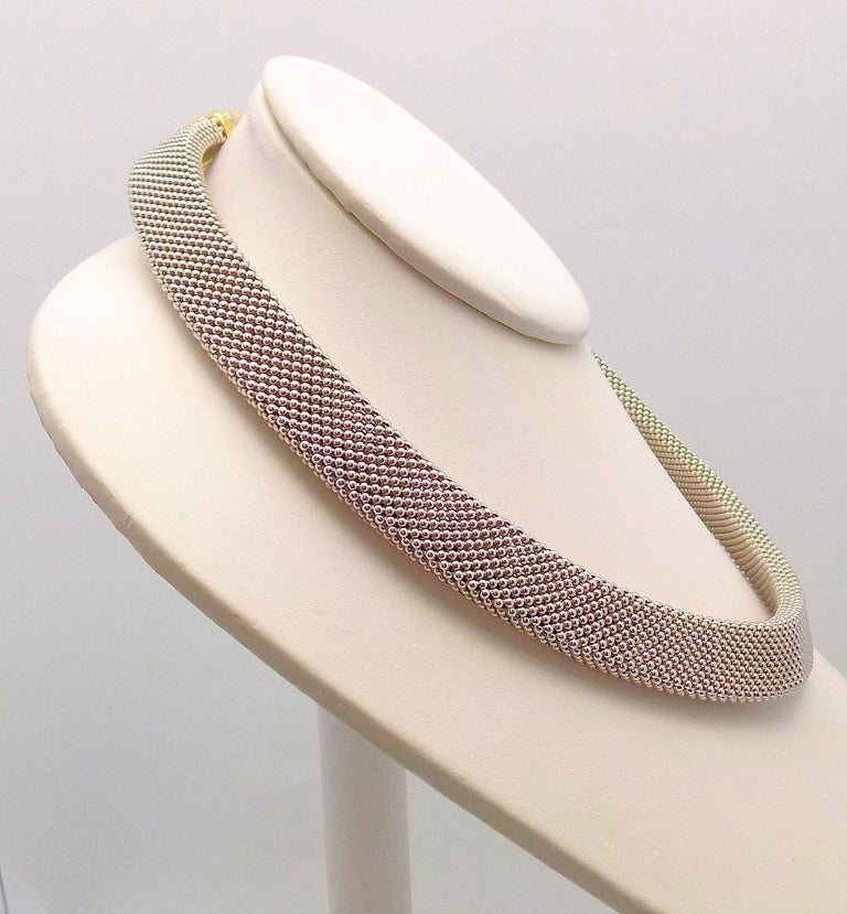 14 Karat White Gold and 14 Karat Yellow Gold Italian Woven Necklace In As New Condition For Sale In Dallas, TX