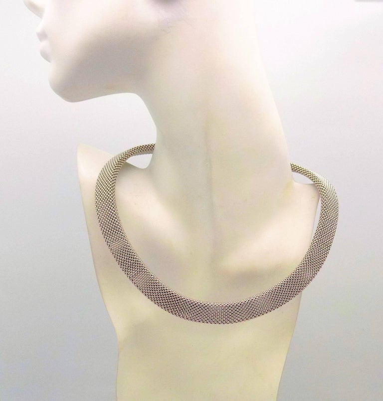 14 Karat White Gold and 14 Karat Yellow Gold Italian Woven Necklace For Sale 1