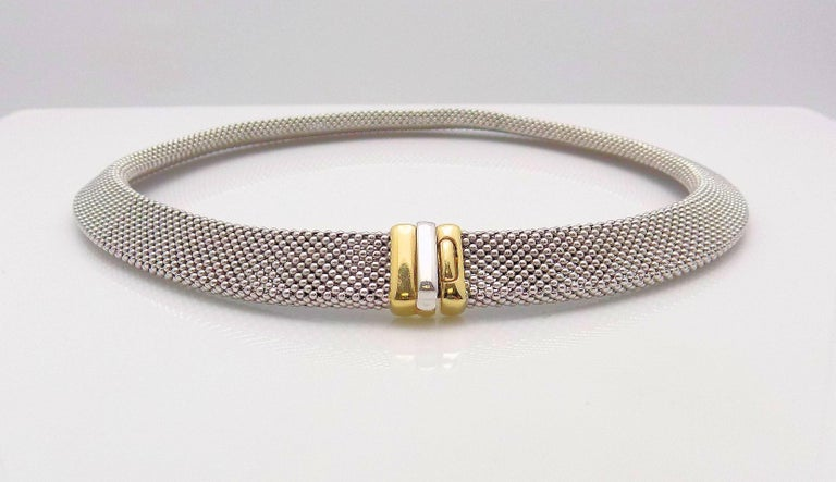 14 Karat White Gold and 14 Karat Yellow Gold Italian Woven Necklace For Sale 2
