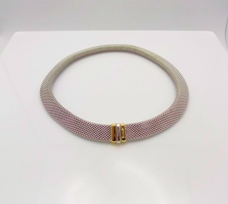14 Karat White Gold and 14 Karat Yellow Gold Italian Woven Necklace For Sale 3