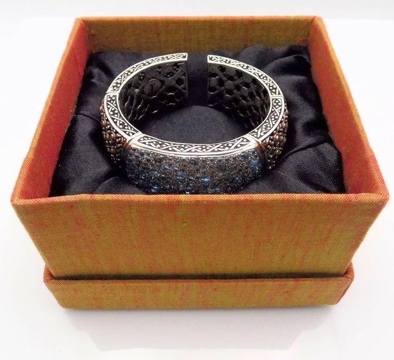 18 Karat Yellow Gold/Sterling Silver John Hardy Jaisalmer Aquamarine Cuff For Sale 7