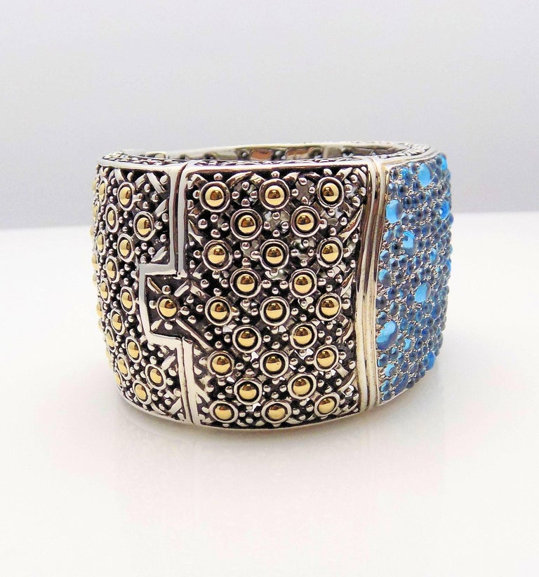 18 Karat Yellow Gold/Sterling Silver John Hardy Jaisalmer Aquamarine Cuff In As New Condition For Sale In Dallas, TX