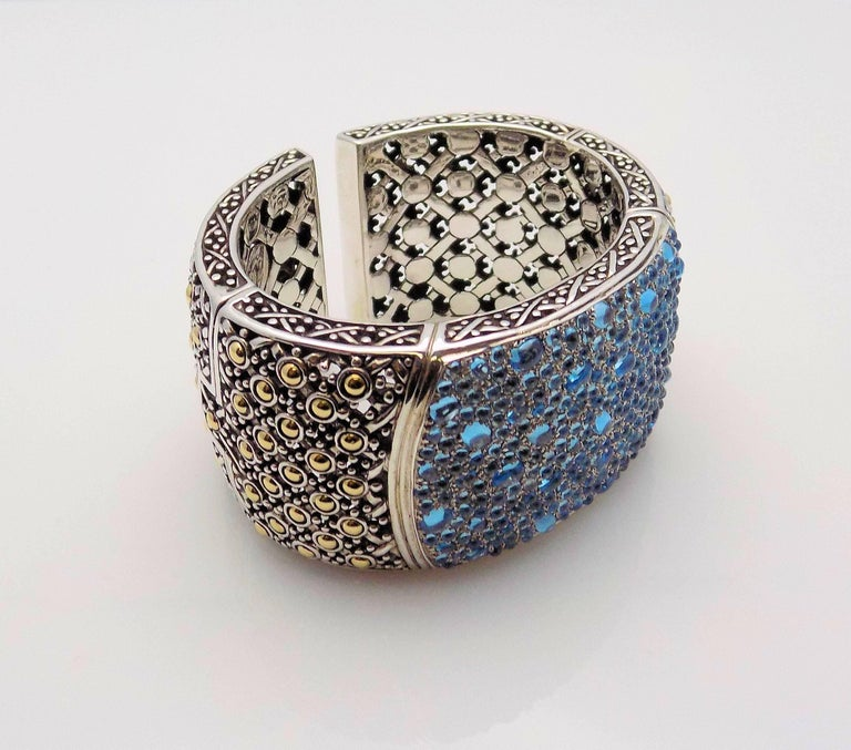 Round Cut 18 Karat Yellow Gold/Sterling Silver John Hardy Jaisalmer Aquamarine Cuff For Sale