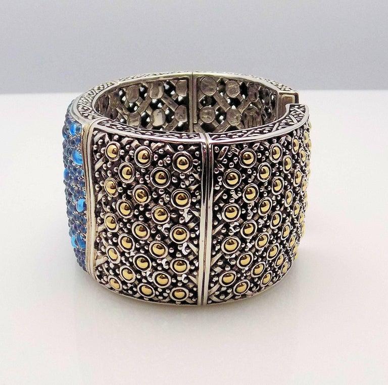 Women's 18 Karat Yellow Gold/Sterling Silver John Hardy Jaisalmer Aquamarine Cuff For Sale