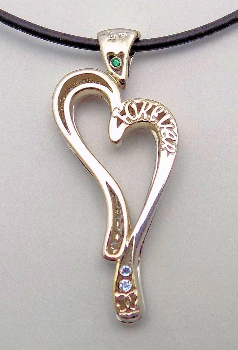 18 Karat White Gold Pave Diamond Heart Pendant by David Gardner For Sale 2