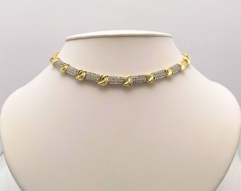 Women's Gold and Diamond Pave' Necklace For Sale
