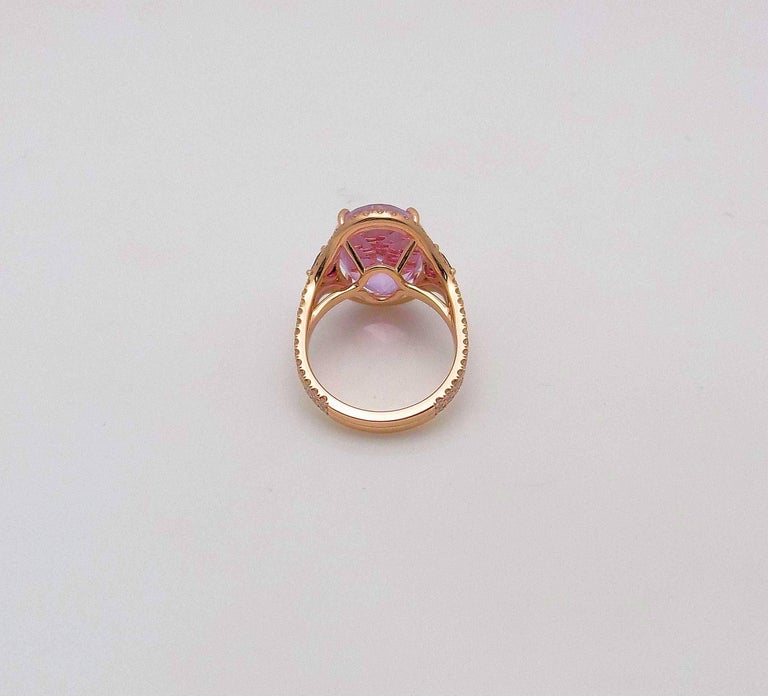 Kunzite and Diamond Ring For Sale 5