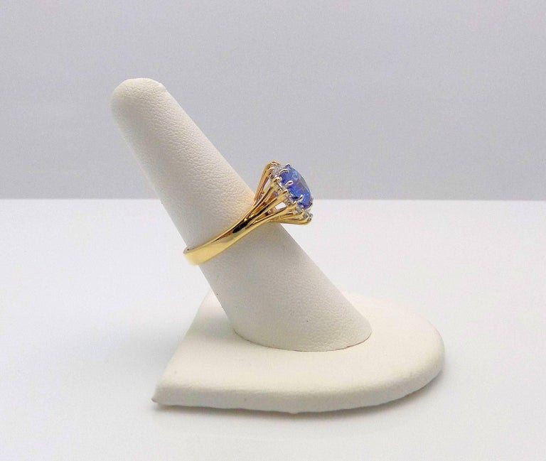 Heart Shape Sapphire and Diamond Ring In As New Condition For Sale In Dallas, TX