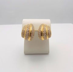 Van Cleef & Arpels Triple Ribbed Diamond Earrings
