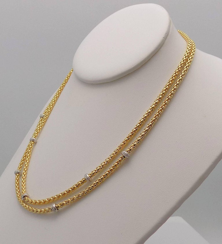 Round Cut Double Strand Diamond Necklace by Fope For Sale